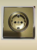 Розетка одинарная с заземлением золотая Laura Right Hausen HN-015088