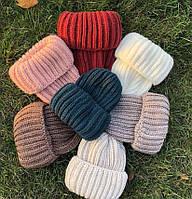 Женская зимняя теплая шапка бомжатка ангора акрил, фото 1