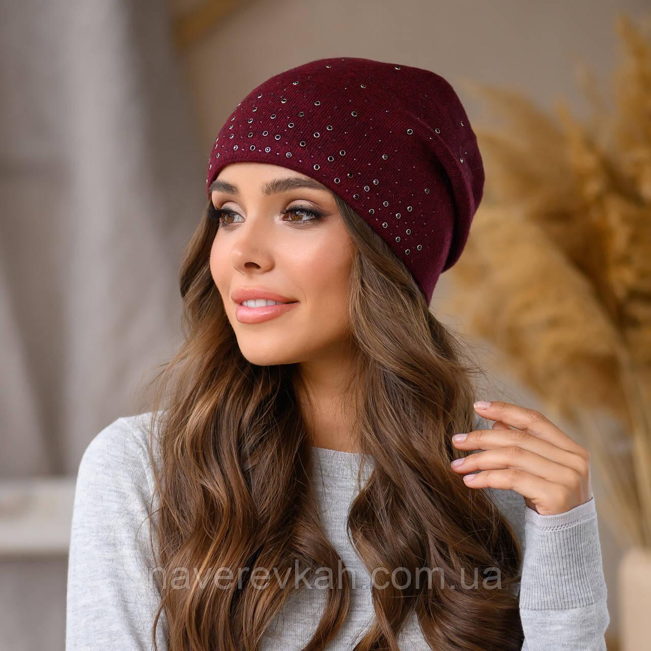 Женская зимняя теплая шапка шерсть акрил