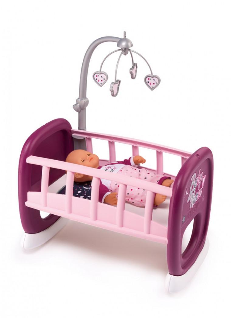 Кроватка Колыбель «Бэби Нёрс Прованс» Smoby Baby Nurse с Мобилем для куклы, 18 мес + 220343