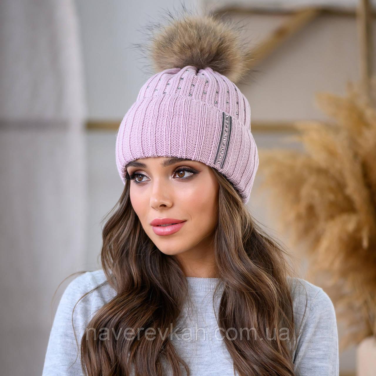 Женская зимняя теплая шапка с помпоном пряжа
