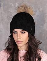 Женская зимняя теплая шапка пряжа с натуральным пампоном, фото 1