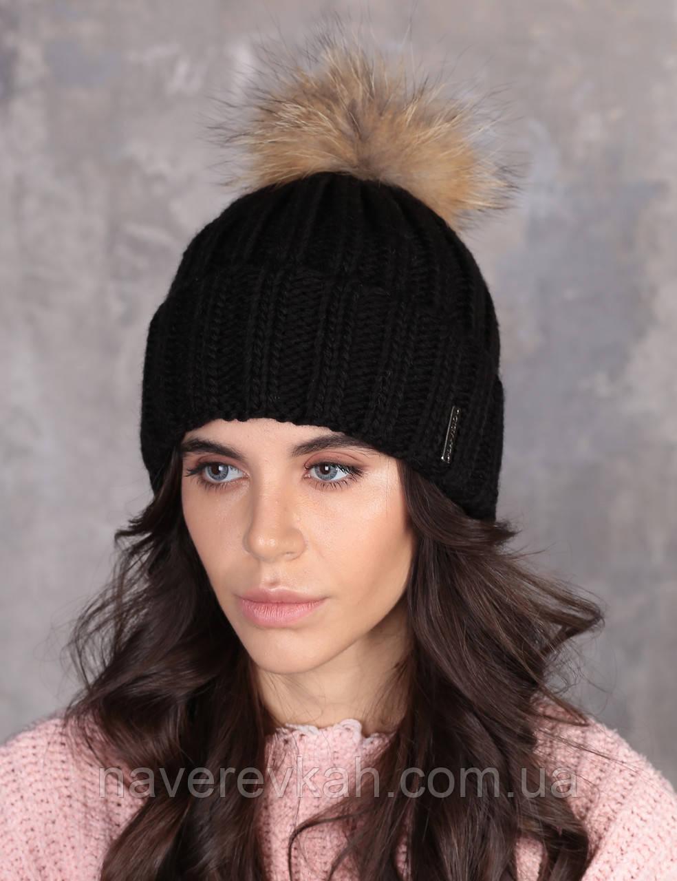 Женская зимняя теплая шапка пряжа с натуральным пампоном