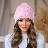 Женская зимняя теплая шапка пряжа