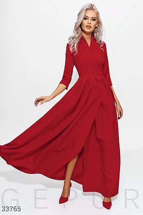 Длинное яркое вечернее платье на запа́х красного цвета, фото 2