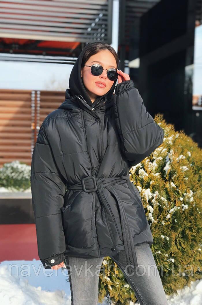 Женская зимняя теплая куртка енки-енки на синтепоне розовая красная желтая черная С М Л