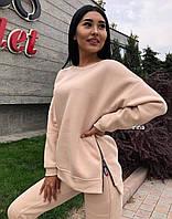 Женский зимний теплый спортивный костюм на флисе черный красный серый бежевый S-M M-L, фото 1