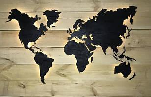 Деревянная карта Мира с LED подсветкой и гравировкой 200х120 см