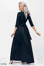 Длинное платье на запах с боковым вырезом черного цвета, фото 3