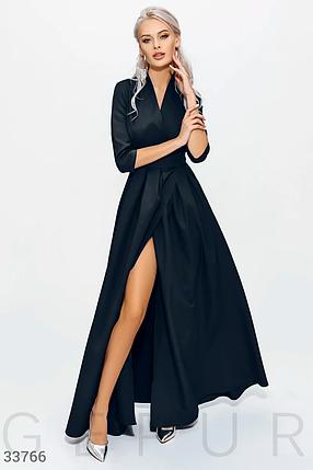 Длинное платье на запах с боковым вырезом черного цвета, фото 2