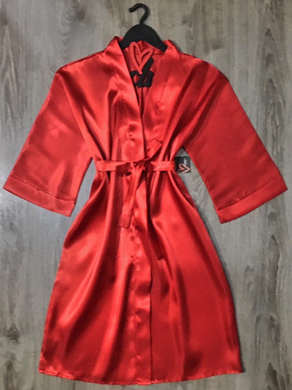 Красный атласный халат женский, размер 46-48