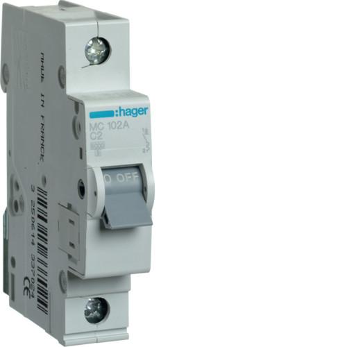 Автоматический выключатель Hager 1P 6kA C-2A 1M (MC102A)