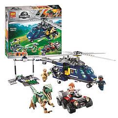 """Конструктор """"JURASSIC WORLD"""" """"Погоня за Блю на вертольоті"""" (коробка) 415дет. 10925 р.32*30*6см"""