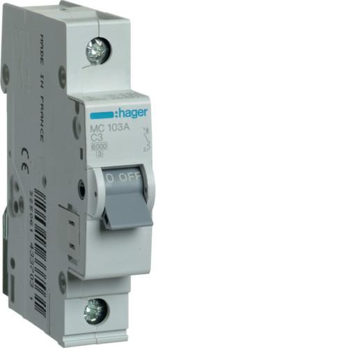 Автоматический выключатель Hager 1P 6kA C-3A 1M (MC103A)