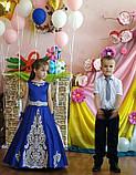 Шикарное длинное платье с золотым купоном на 6-10 лет, фото 6