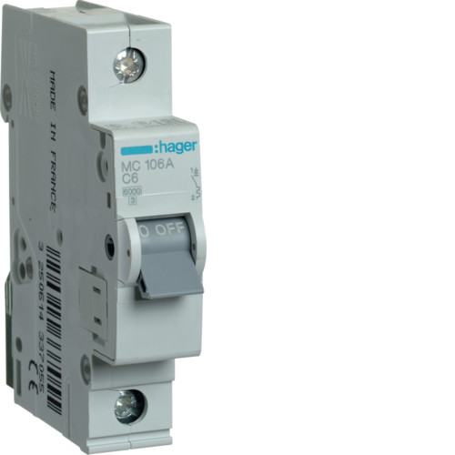 Автоматический выключатель Hager 1P 6kA C-6A 1M (MC106A)