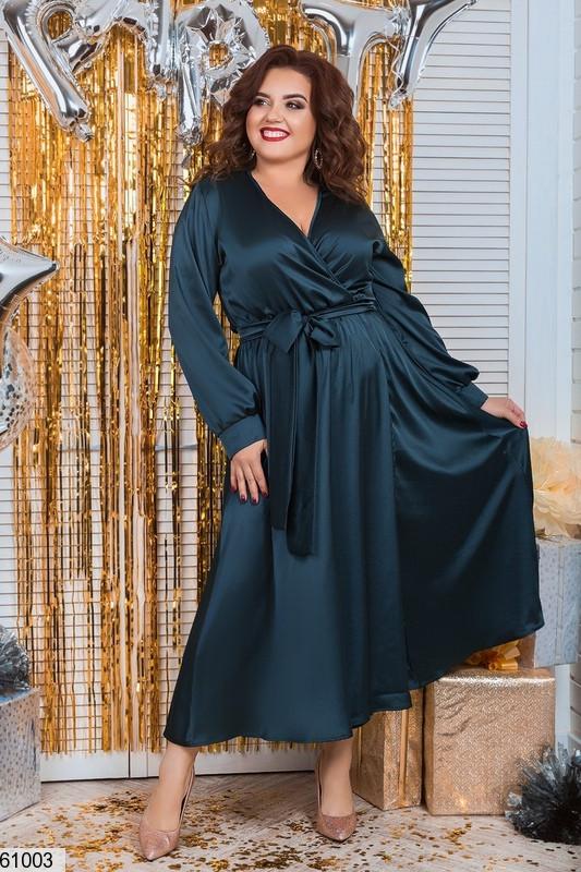 Шелковое платье на запах больших размеров