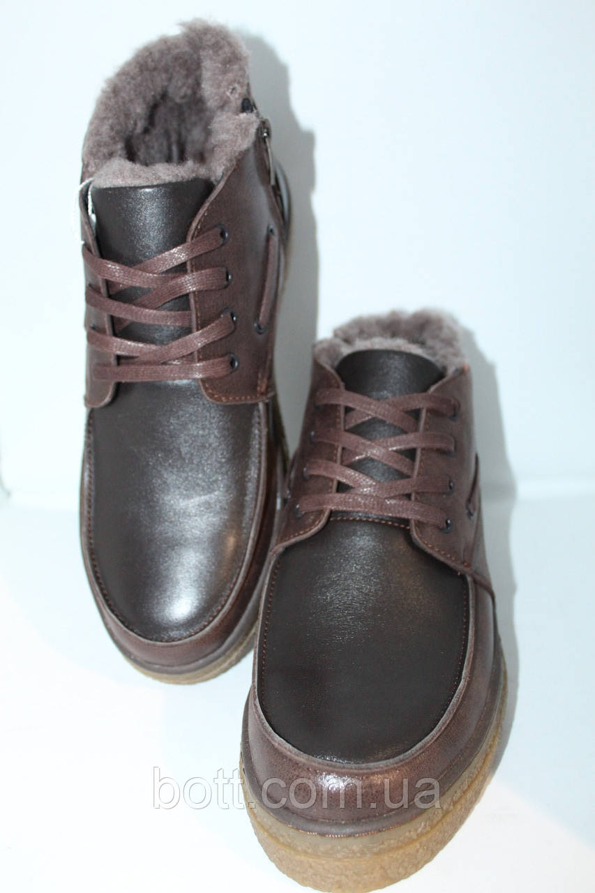 Зимние кожаные ботинки коричневые