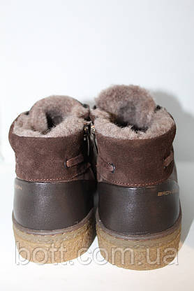 Зимние кожаные ботинки коричневые, фото 3