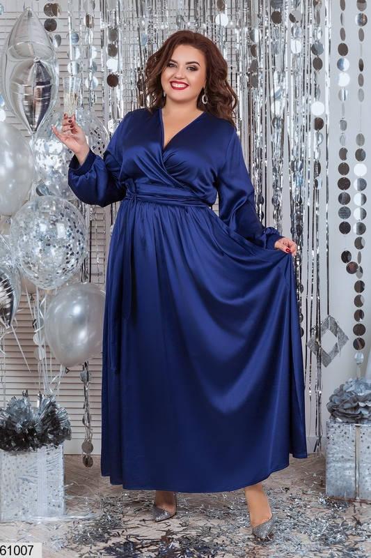 Вечернее платье в пол больших размеров синее, фото 2