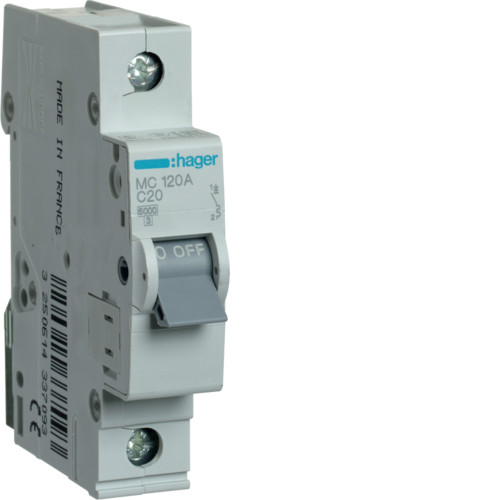 Автоматичний вимикач Hager 1P 6kA C-20A 1M (MC120A)