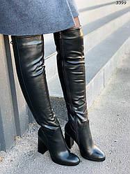 Сапоги зимние на каблуках, эко-кожа
