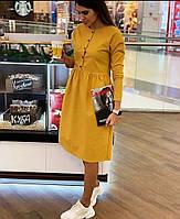 Платье-колокол, из габардина, на пуговицах, приталенное, ниже колена, рукав три четверти (42-46)