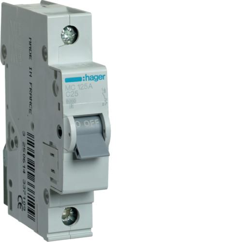 Автоматический выключатель Hager 1P 6kA C-25A 1M (MC125A)