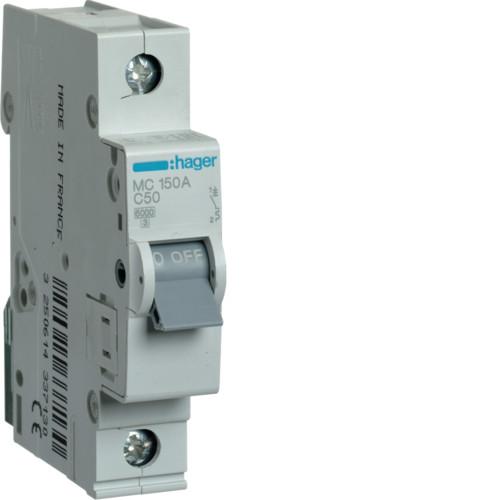 Автоматический выключатель Hager 1P 6kA C-50A 1M (MC150A)