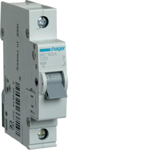 Автоматический выключатель Hager 1P 6kA C-63A 1M (MC163A)