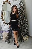 """Нарядное гипюровое платье-двойка """"Dulce"""" с юбкой из сетки (2 цвета)"""