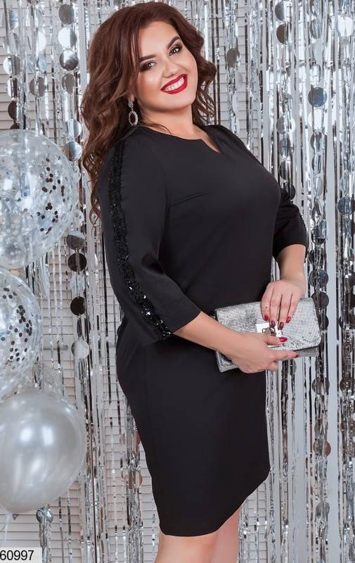 Платье больших размеров с пайетками черное, фото 2