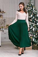 Модная длинная вязанная юбка плиссе 42-50 размеры