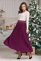 Вязанная длинная  юбка плиссе 42-50 размеры