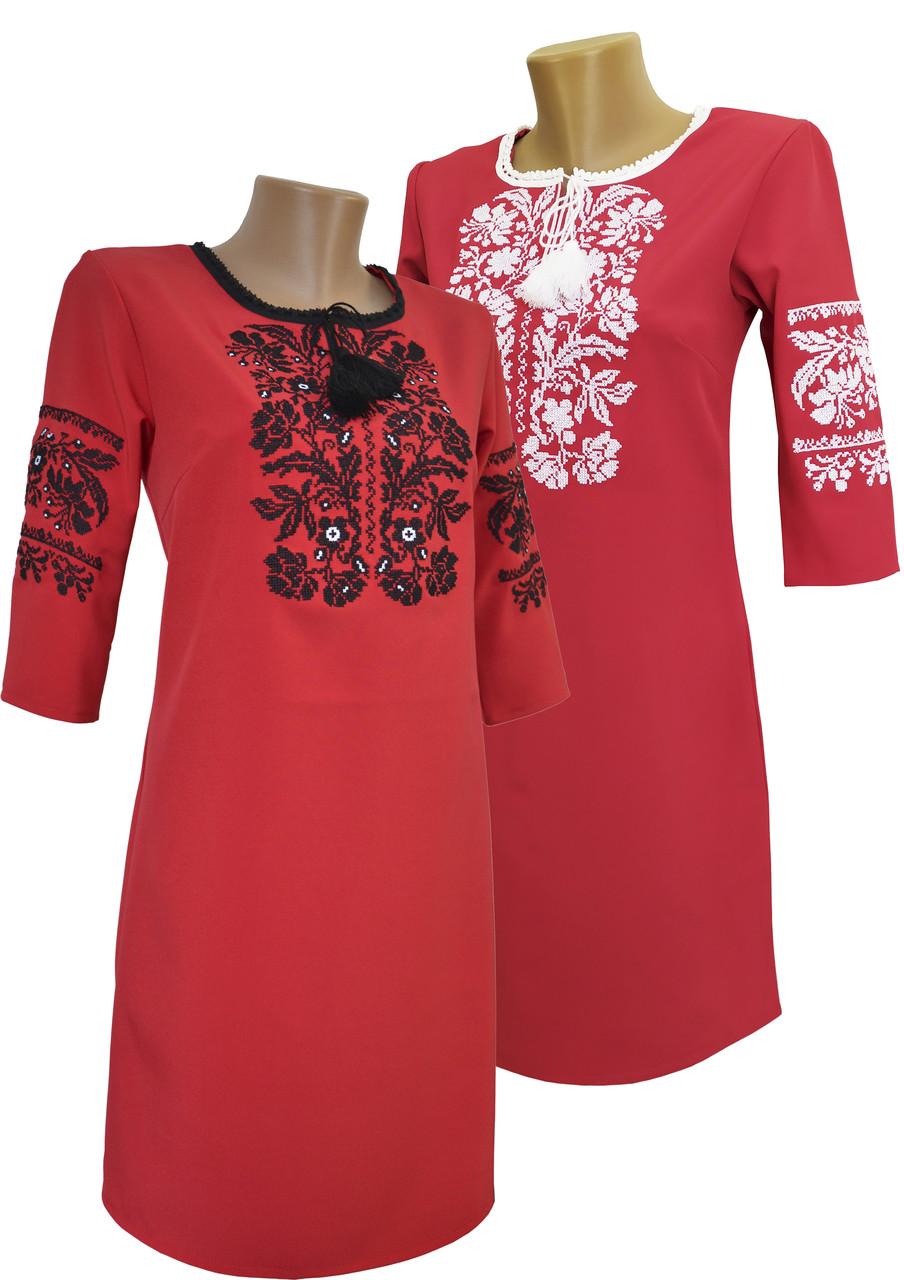Женское красное платье вышиванка с рукавом 3/4 и длиной до колен
