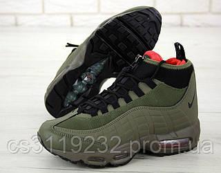 Мужские кроссовки (еврозима) Nike Air Max 95 Sneakerboot (зеленые)