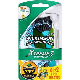 Мужские одноразовые станки Wilkinson Sword Xtreme Sensitive 6+2 free 01160