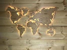 Деревянная карта Мира с LED подсветкой и гравировкой 150х90 см