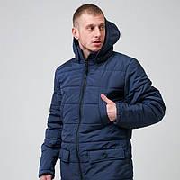 Куртка мужская зимняя парка синяя с капюшоном
