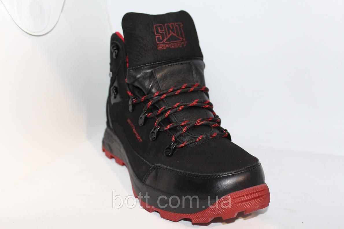 Спортивные кожаные ботинки черные, фото 2