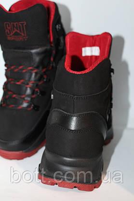 Спортивные кожаные ботинки черные, фото 3
