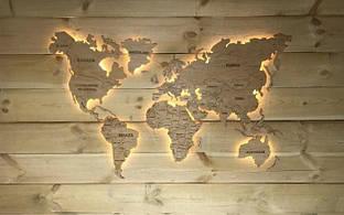 Деревянная карта Мира с LED подсветкой 170х100 см бежевая 6465403