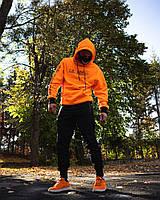 Спортивный костюм мужской ЗИМНИЙ OFF WHITE Х Lil Peep Show  черно-желтый / Кенгуру + штаны на флисе