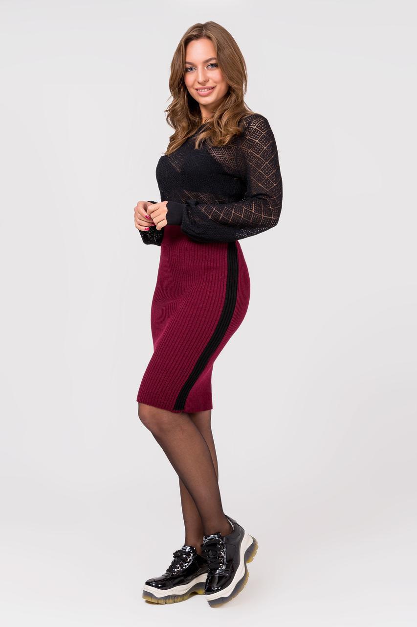 Молодёжная вязанная юбка с лампасами длины миди 44-50 размеры