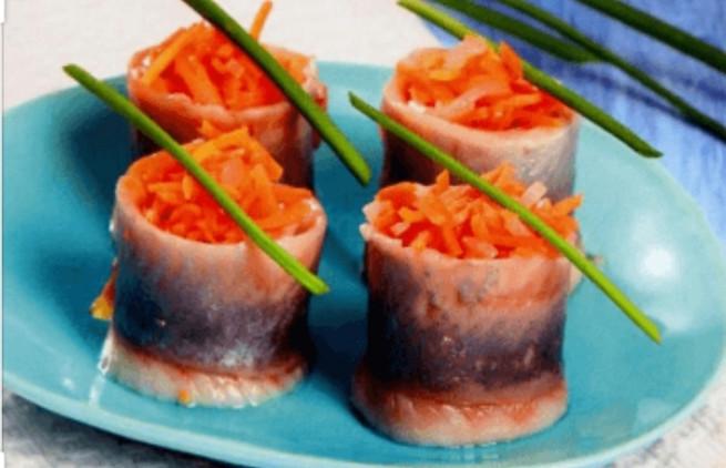 Филе -Рулеты малосольной Селёдки с морковью 1кг