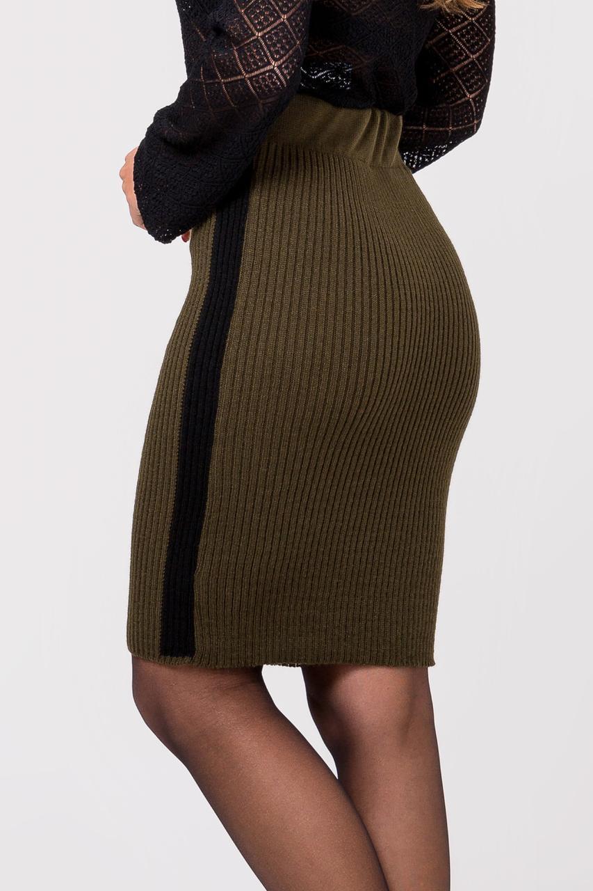 Тёплая вязанная юбка с лампасами длины миди 44-50 размеры