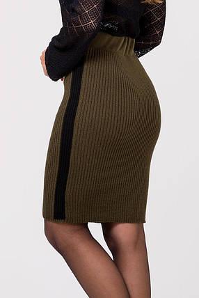 Тёплая вязанная юбка с лампасами длины миди 44-50 размеры, фото 2