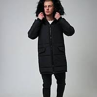 Куртка мужская зимняя парка с мехом чёрная