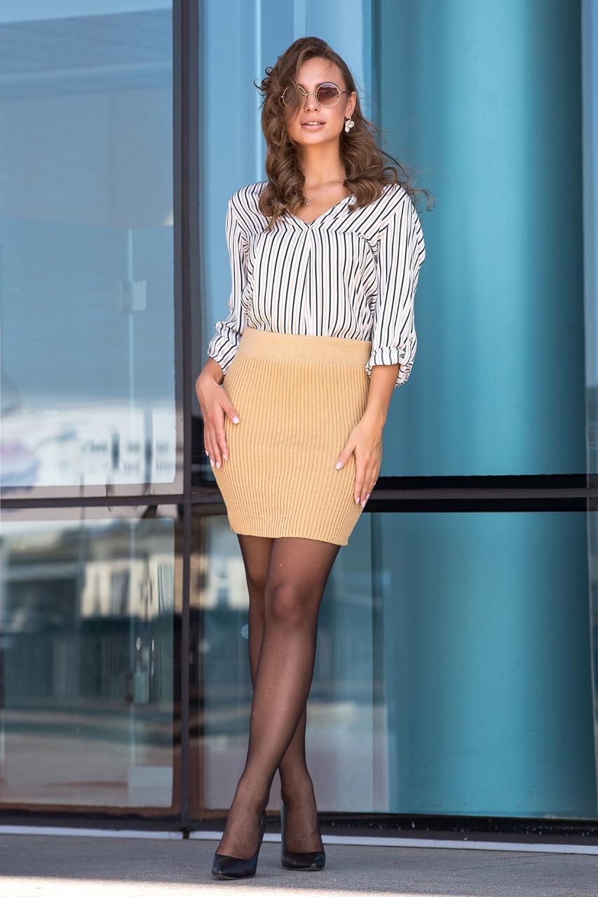 Молодёжная тёплая вязанная юбка длины мини 44-50 размеры