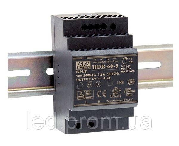Блок питания Mean Well на DIN-рейку 60Вт 24В IP20 (HDR-60-24)